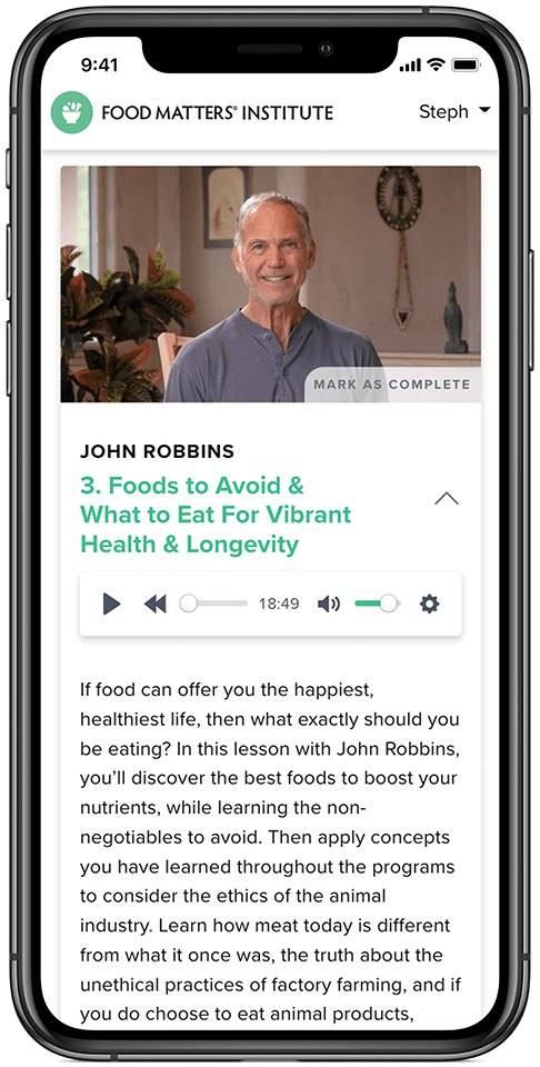 The Food Matters Nutrition Certification John Robbins Audio